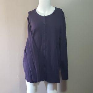 Croft & Barrow Purple Ladies Cardigan Sz 1X